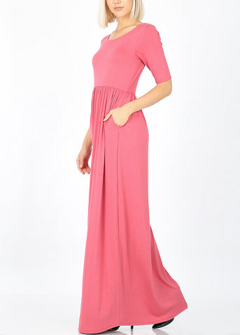 Rose Maxi Dress With Waist Shirring