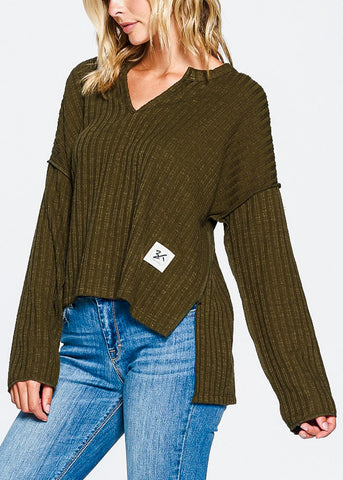 Image of Olive Cozy Long Sleeve Sweater