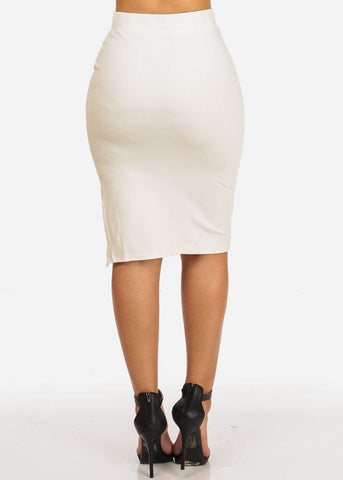 Side Lace Up White Skirt