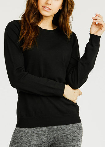 Black Crew Neck Stretchy Sweater
