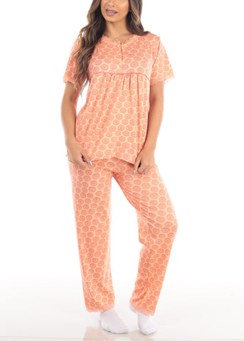 Short Sleeve Orange Printed Top And Pajama Pants Two Piece Affordable