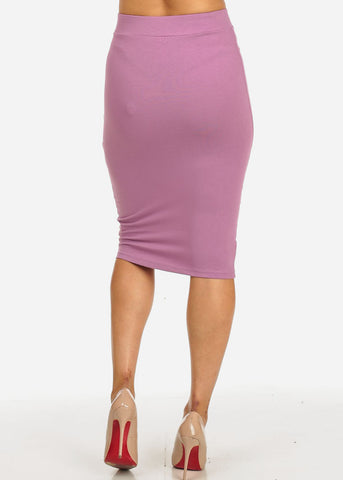 Lilac High Waisted Stretchy Skirt