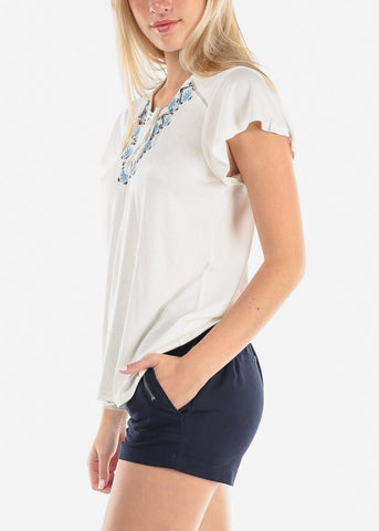 Image of Women's Junior Ladies Casual Must Have Stitched Flowers Lave Up V Neckline White Stretchy Top