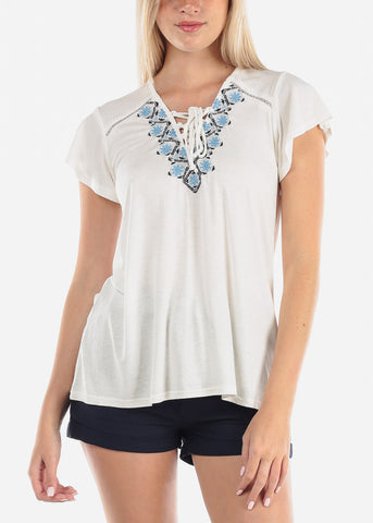 Image of White Floral Print Top on Sale
