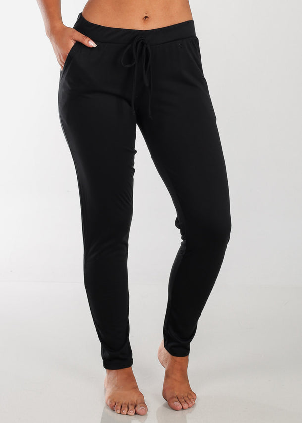 Casual Stretchy Black Pants