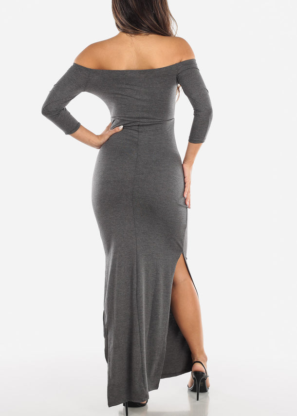 Dark Grey Off Shoulder Maxi Dress