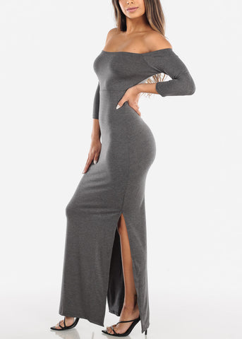 Image of Dark Grey Off Shoulder Maxi Dress