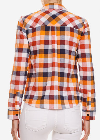 Orange Long Sleeve Button Up Plaid Shirt