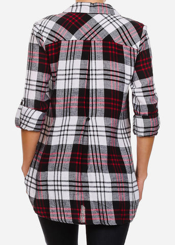 Image of Red and Black Half Button Up Plaid Shirt