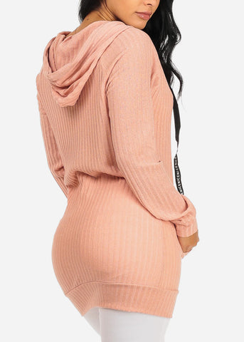 Knitted Pink Tunic Top W Hood