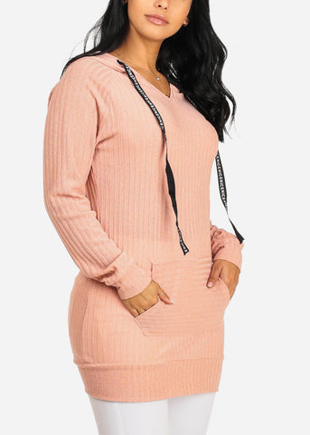 Cheap Knitted Pink Tunic Top W Hood