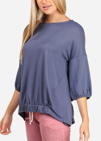 Image of Women's Junior Casual Going Out 3/4 Sleeve Super Stretchy Basic Navy Top