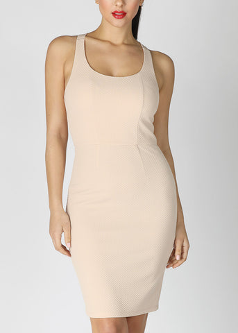 Cross Back Knee Length Beige Dress