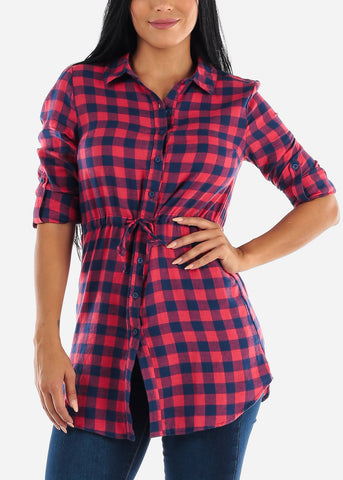 Red Plaid Button Up Tunic Top