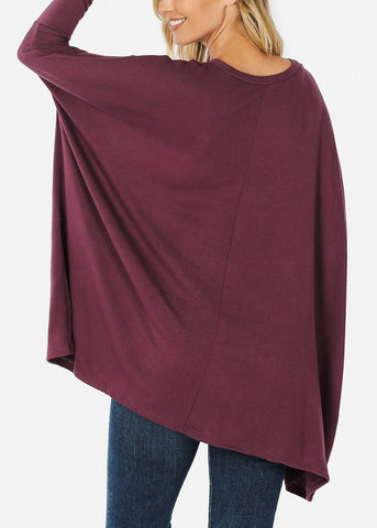 Purple Long Sleeve Dolman Tunic
