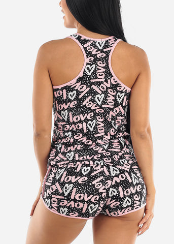 Black Love Graphic Sleepwear Set