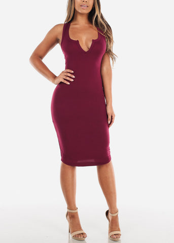 Burgundy Bodycon Midi Dress