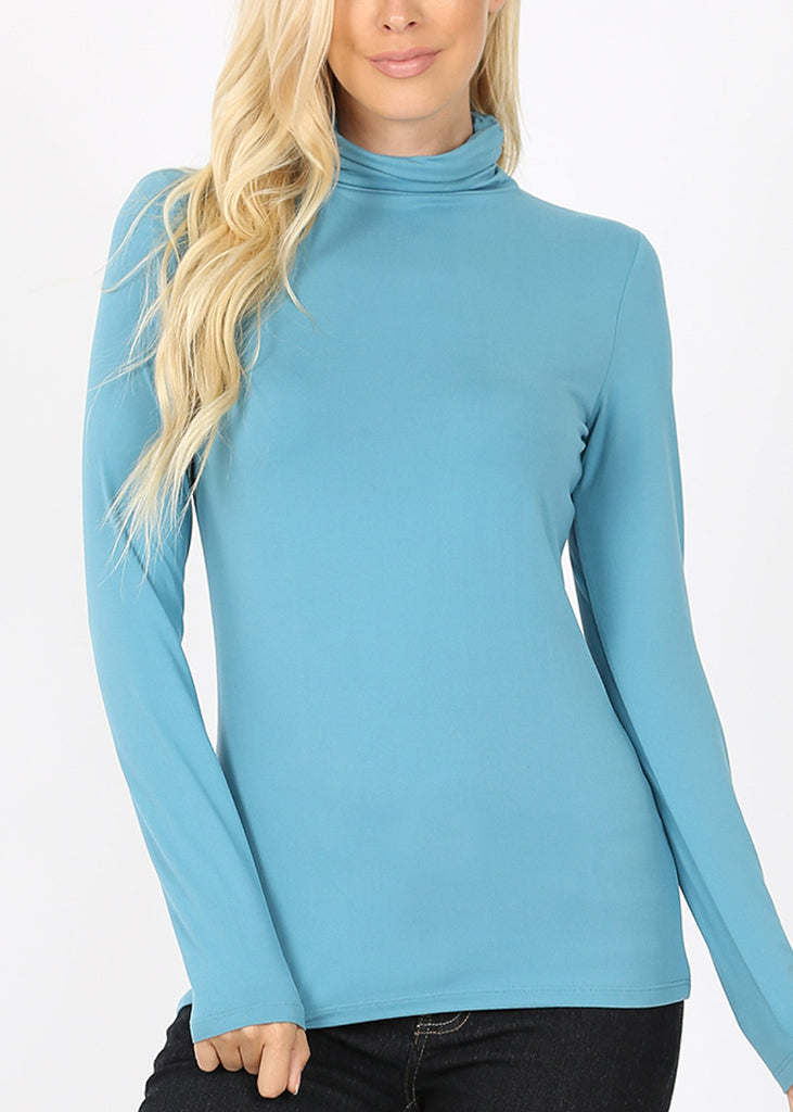 Mock Neck Teal Top