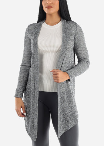 Image of Open Front Grey Cardigan