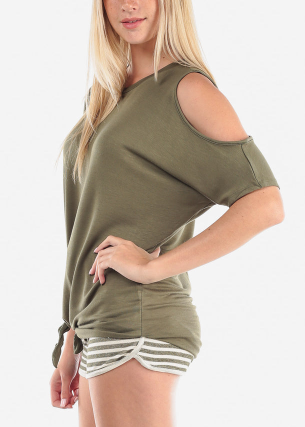 Cold Shoulder Olive Tunic Top