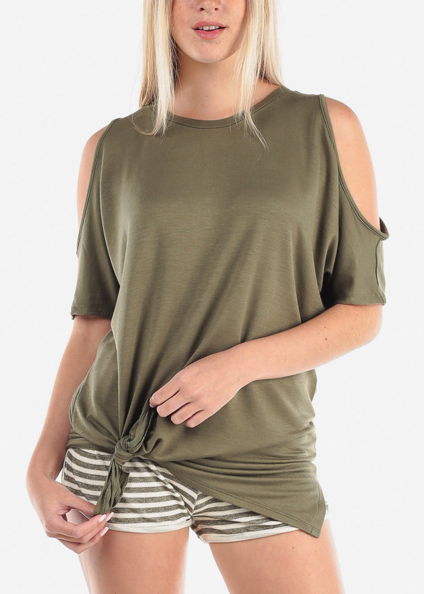 Women's Junior Casual Stretchy Cold Shoulder Olive Long Tunic Top