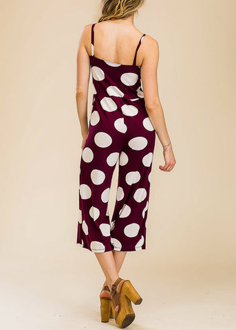 Polka Dot Burgundy Cropped Jumpsuit