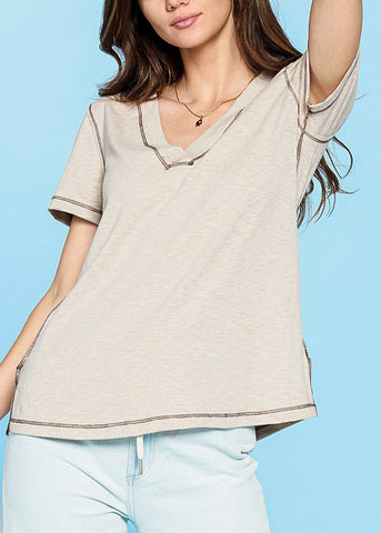 Short Sleeve V-Neck Sand Top