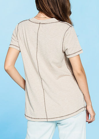 Image of Short Sleeve V-Neck Sand Top