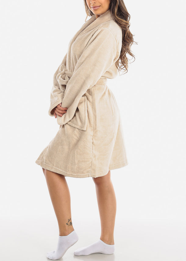 Dark Cream Fleece Robe