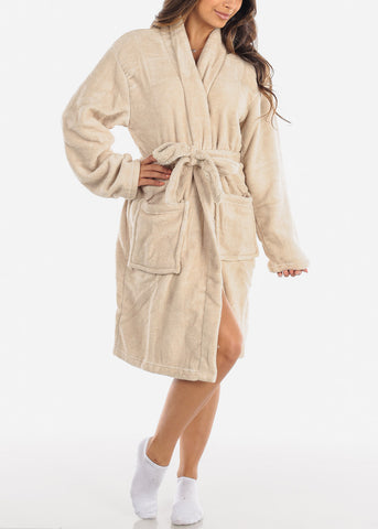 Image of Dark Cream Fleece Robe