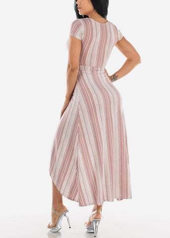 White & Mauve Printed Maxi Dress