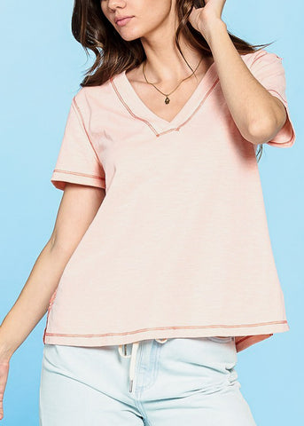 Image of Short Sleeve V-Neck Pink Top