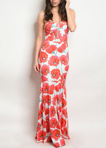 Strapless Floral White Maxi Dress