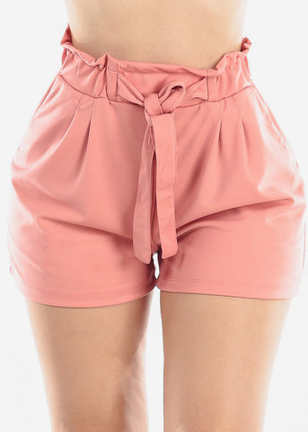 High Rise Paperbag Mauve Shorts