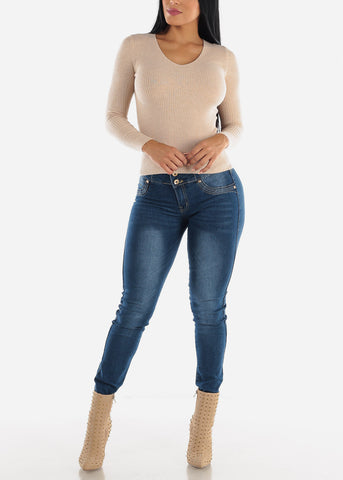 V-Neck Viscose Rib Taupe Sweater