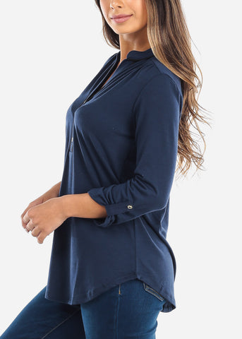 Half Button Up Navy Blouse