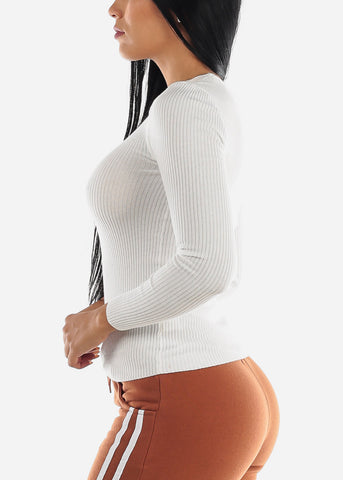 V-Neck Viscose Rib White Sweater