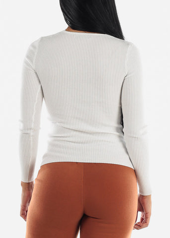 Image of V-Neck Viscose Rib White Sweater