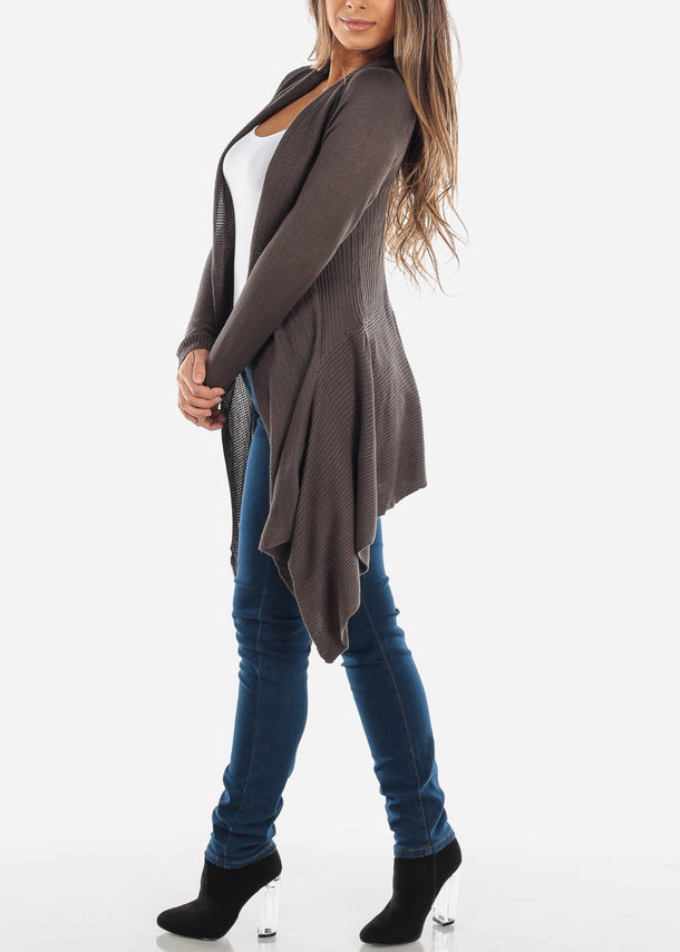 Asymmetric Long Sleeve Olive Cardigan