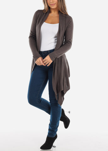 Image of Asymmetric Olive Cardigan