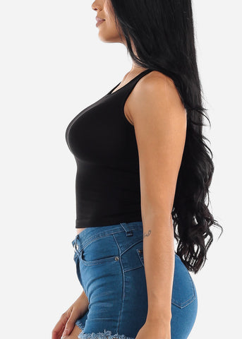 Image of Back Lace Up Black Ribbed Top