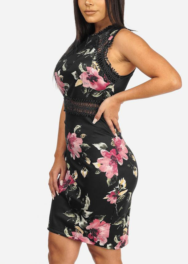 Sleeveless Floral Print Black Dress