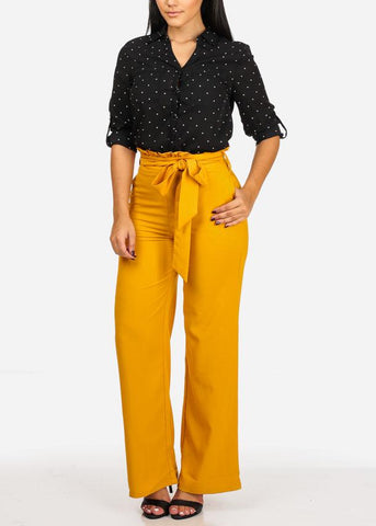 Image of Mustard Belted High Rise Wide Leg Pants