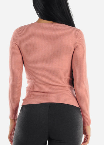 V-Neck Viscose Rib Pink Sweater