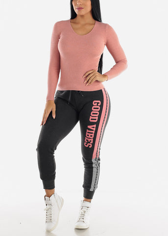 Image of V-Neck Viscose Rib Pink Sweater