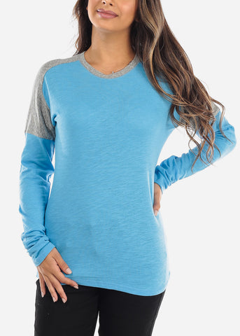 Image of Blue & Grey Colorblock Long Sleeve Shirt