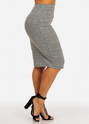 High Waisted Plaid Pencil Skirt