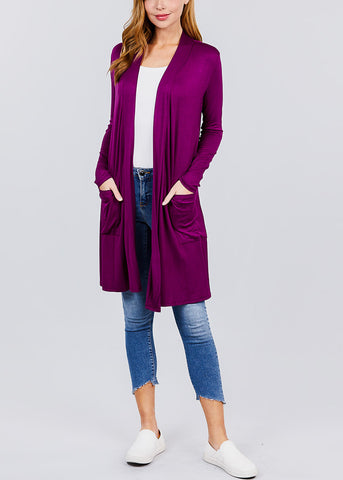 Purple Open Front Maxi Cardigan