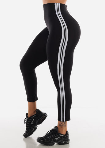 Image of Activewear Stripe Sides Pink Fleece Leggings