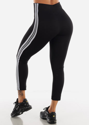 Activewear Stripe Sides Black Fleece Leggings